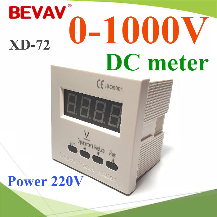 âÇÅ·ìÁÔàµÍÃì DC ÃÐÂÐÇÑ´ 0V-1000V ¢¹Ò´ 72x72 mm. ä¿àÅÕé§ 220VACDCV Voltage meter Display 0-1000V  size 72x72mm  Power AC 220V
