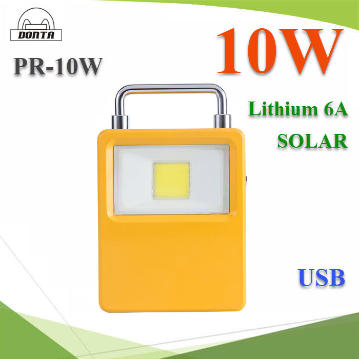 10W Portable Solar Rechargeable LED Flood Aluminum Camping Light USB Charging 5V 2A Interface Led Lamp