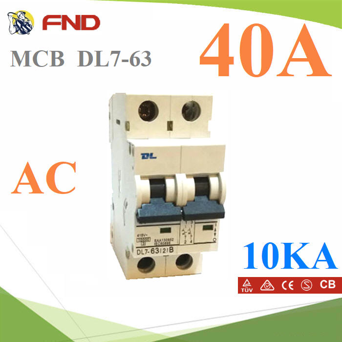 MCB 40A 10KA AC àºÃ¡à¡ÍÃì 2pole model DL7-63DL7-63 40A Mini Circuit Breaker 10KA (SAA NO:130852)