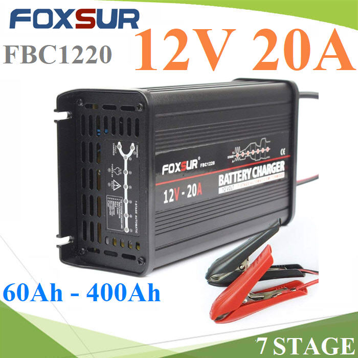 AC 220V ชาร์จ แบตเตอรี่ 7 stage  FOXSUR ขนาด 12V 20A  แบตเตอรี่ขนาด 60AH - 400AhFOXSUR 12V 20A 7-stage smart Lead Acid Battery Charger , Aluminum case Car Battery Charger Input voltage: 180-260V AC, 50Hz