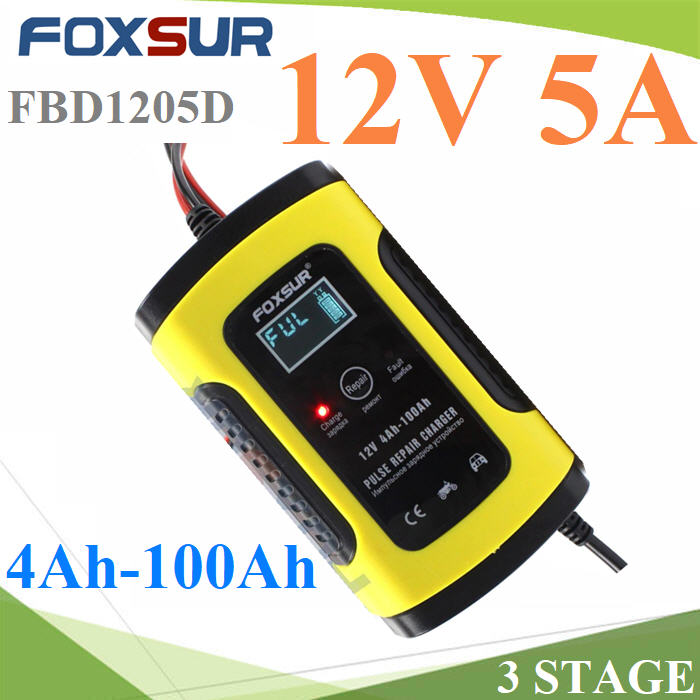 AC 220V ªÒÃì¨ áºµàµÍÃÕè 3 stage  FOXSUR ¢¹Ò´ 12V 5A  ẵàµÍÃÕ袹Ҵ 4Ah-100AhFOXSUR 12V 5A Motorcycle Car Battery Charger Maintainer & Desulfator Smart Battery Charger, Pulse Repair Charger LCD Display