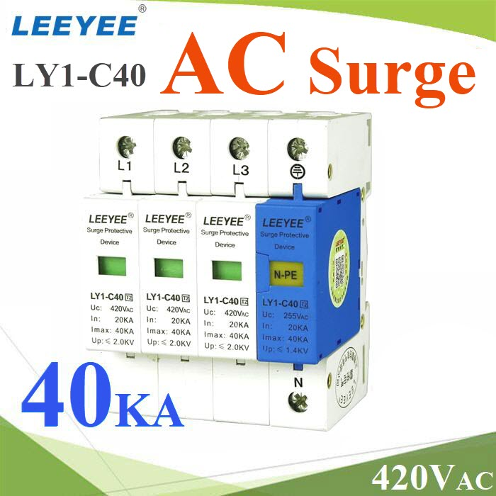 Surge AC LY1-C40 40Ka ÍØ»¡Ã³ì»éͧ¡Ñ¹¿éÒ¼èÒ ä¿¡ÃЪҡ 3 à¿Ê  L1 L2 L3 N-PELY1-C40 3P-N-PE Three phase AC surge protection device 40KA