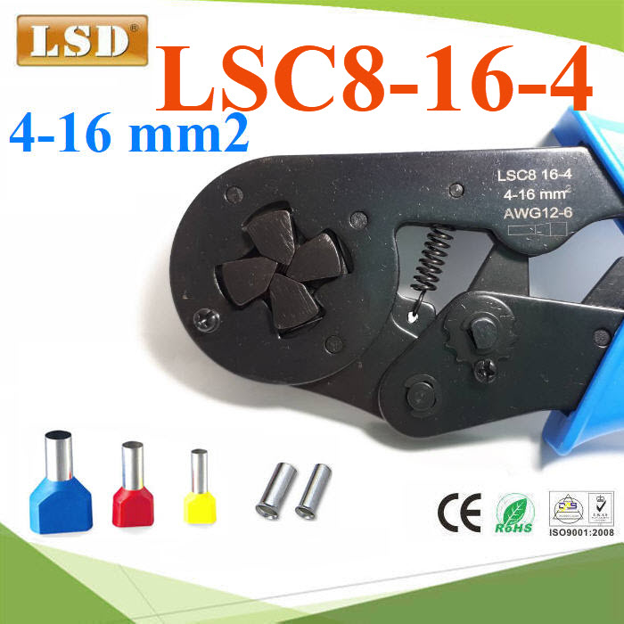 คีมย้ำหางปลา LSC8-16-4 คอร์ทเอ็นด์ ขนาดใหญ่ มม. AWG  LSC8 16-4 Self adjustable crimping pliers square wire pressing mold mini type terminal crimper pliers multi hand tools