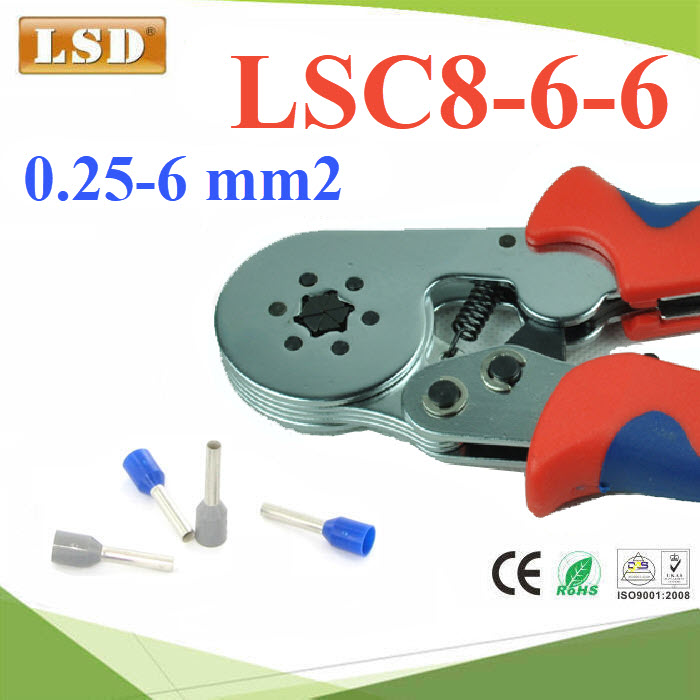 LSD-LSC8-6-6 ¤ÕÁÂéÓËÒ§»ÅÒ ¤ÍÃì·àÍç¹´ì Ë¡àËÅÕèÂÁ ¢¹Ò´ 0.25-6 mm² AWG 24-10LSC8-6-6 ferrule crimping tool for press hexagonal type 0.25-6mm2 cable ferrules hexagon crimping tool