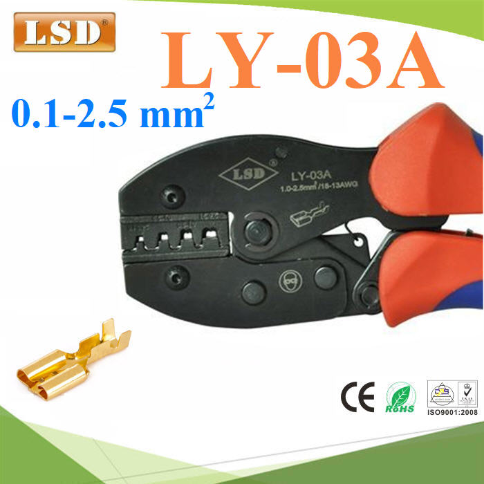 LY-03A Ratchet hand crimping tool for non-insulated open plug-type connectors 0.1-2.5mm2 crimping pliers
