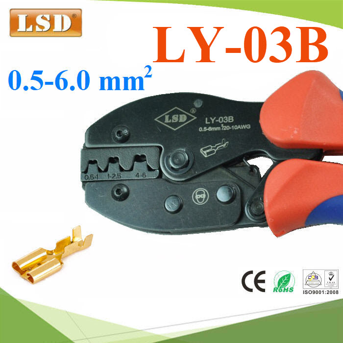 ¤ÕÁÂéÓËÒ§»ÅÒ LSD ÂéÓËÑÇÊÒÂä¿ áººäÁèÁÕ©¹Ç¹ ¢¹Ò´ 0.5-6mm²LY-03B Ratchet hand crimping tool for non-insulated open plug-type connectors 0.5-6mm2 crimping pliers