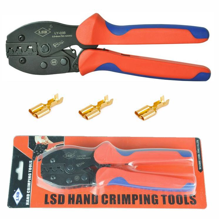 LY-03B Ratchet hand crimping tool for non-insulated open plug-type connectors 0.5-6mm2 crimping pliers