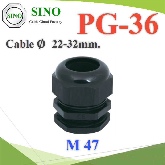 เคเบิ้ลแกลนด์ PG36 cable gland Range 22-32 mm.  สีดำCable gland PG-36 Plastic Waterproof Black