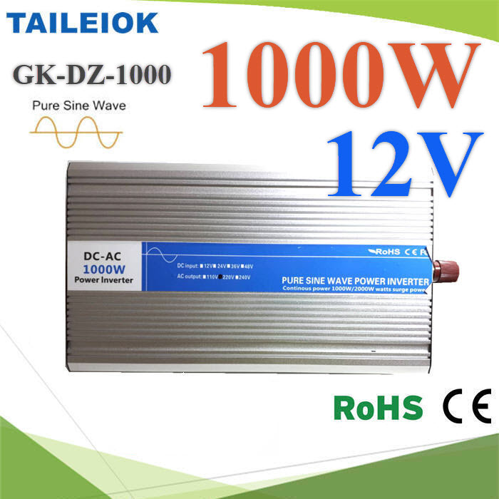 อินเวอร์เตอร์ 1000W Off-Grid Pure sine wave 12V DC to AC 220V1000W Pure Sine Wave Inverter 12V DC to AC 220V