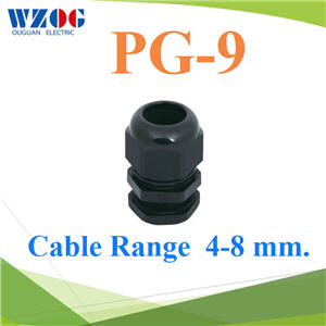 à¤àºÔéÅá¡Å¹´ì PG-9  Cable Range 4-8 mm. ÊÕ´ÓPG-9 Plastic Waterproof Cable Gland BLACK