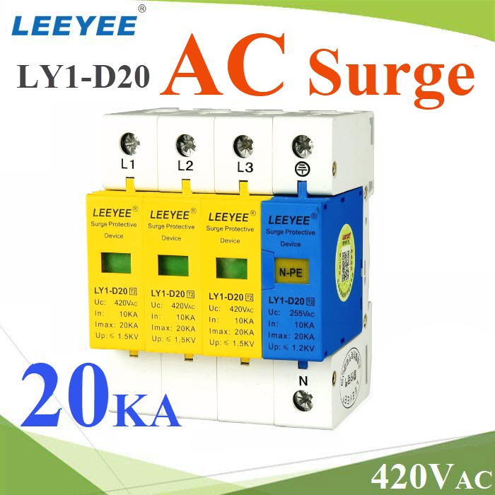 Surge AC LY1-D20 20Ka ÍØ»¡Ã³ì»éͧ¡Ñ¹¿éÒ¼èÒ ä¿¡ÃЪҡ 3 à¿Ê  L1 L2 L3 N-PELY1-D20 3P-N-PE Three phase AC surge protection device 20KA